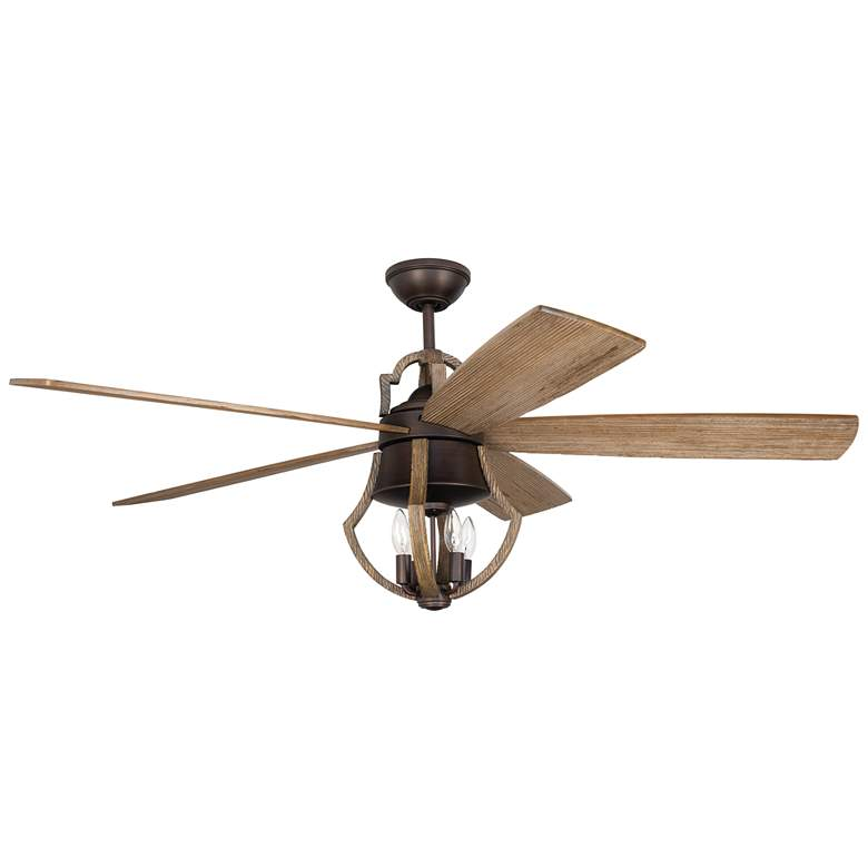 """56"""" Craftmade Winton Pine and Bronze LED Ceiling Fan"""