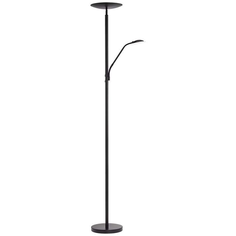 Decker Modern LED Reading Floor Lamp in Black