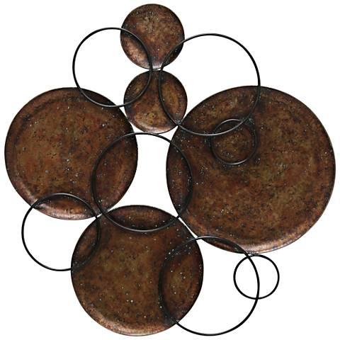 "Copper and Black Circles 37 1/2"" High Metal Wall Art"