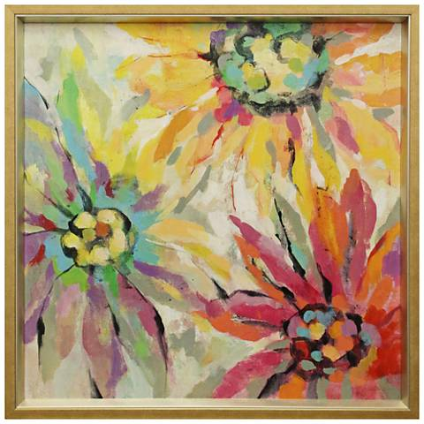 "Floral Splash 38 1/2"" Square Textured Framed Print Wall Art"