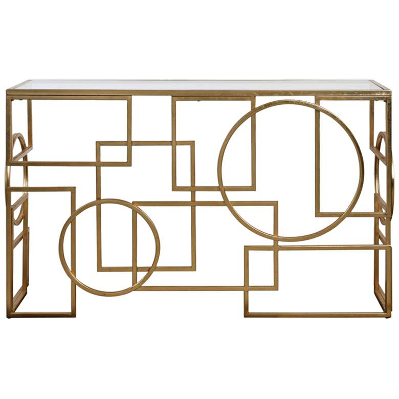 "Metria 52"" Wide Glass and Gold Leaf Geometric Console Table"