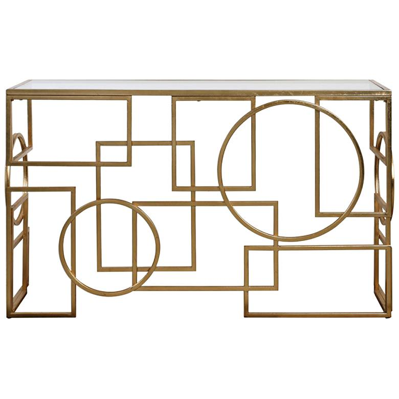 """Metria 52"""" Wide Glass and Gold Leaf Geometric Console Table"""