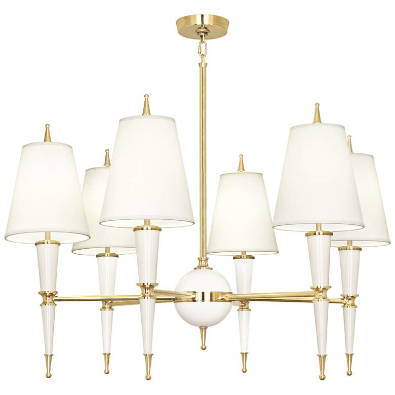 """Versailles 36 3/4""""W Fondine Shade Lily Lacquer Chandelier"""