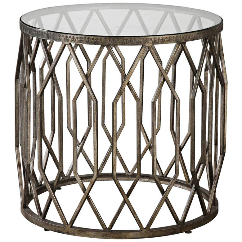 """Algoma 23 1/4"""" Wide Bronze and Glass Geometric Accent Table"""