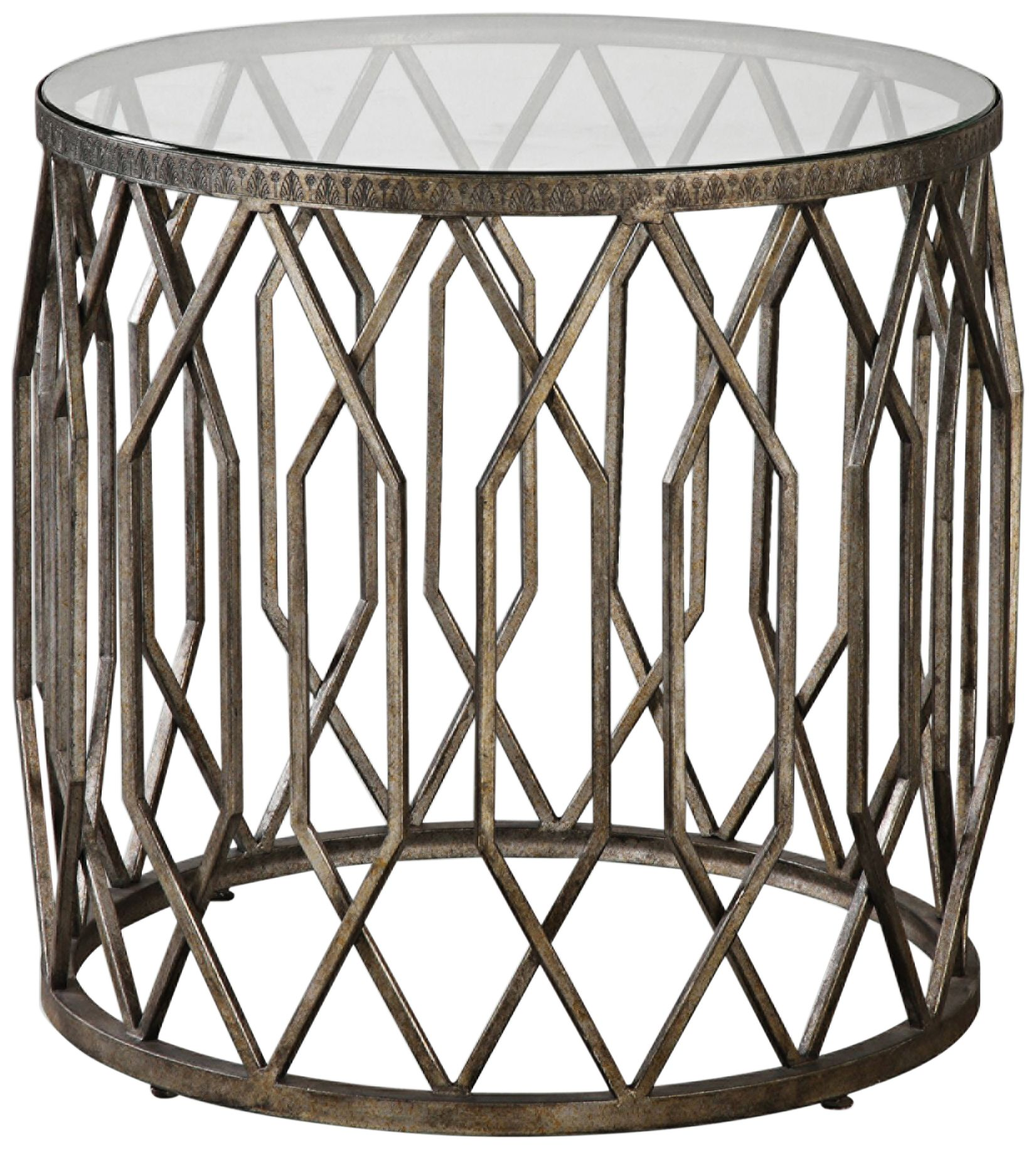 Uttermost Algoma Aged Bronze And Glass Top Accent Table