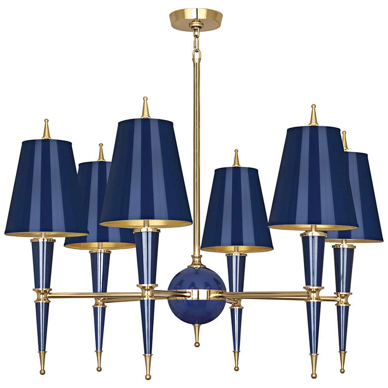 """Versailles 36 3/4""""W Navy Lacquer and Navy Shade Chandelier"""