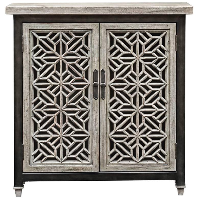 """Branwen 34"""" Wide Gray Wash 2-Door Wood Accent Cabinet"""