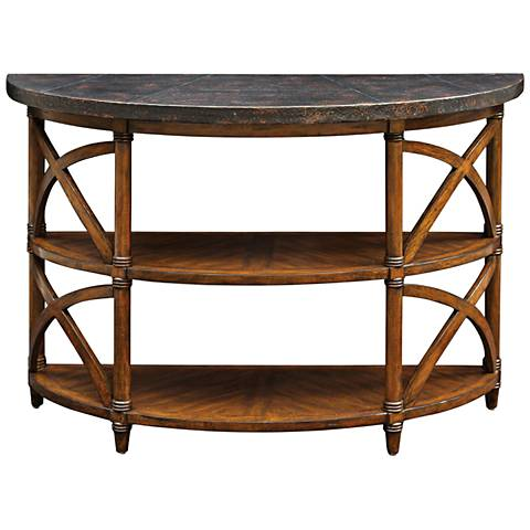 Rada Weathered Pecan and Burnished Copper Top Console Table