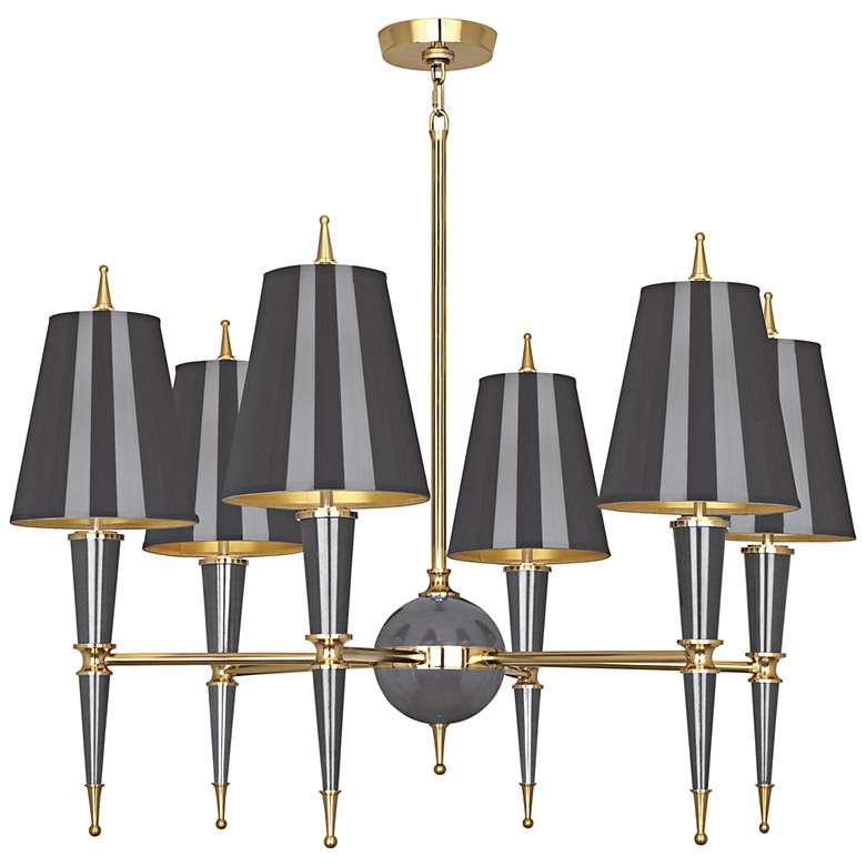"""Versailles 36 3/4""""W Ash Lacquer and Ash Shade Chandelier"""