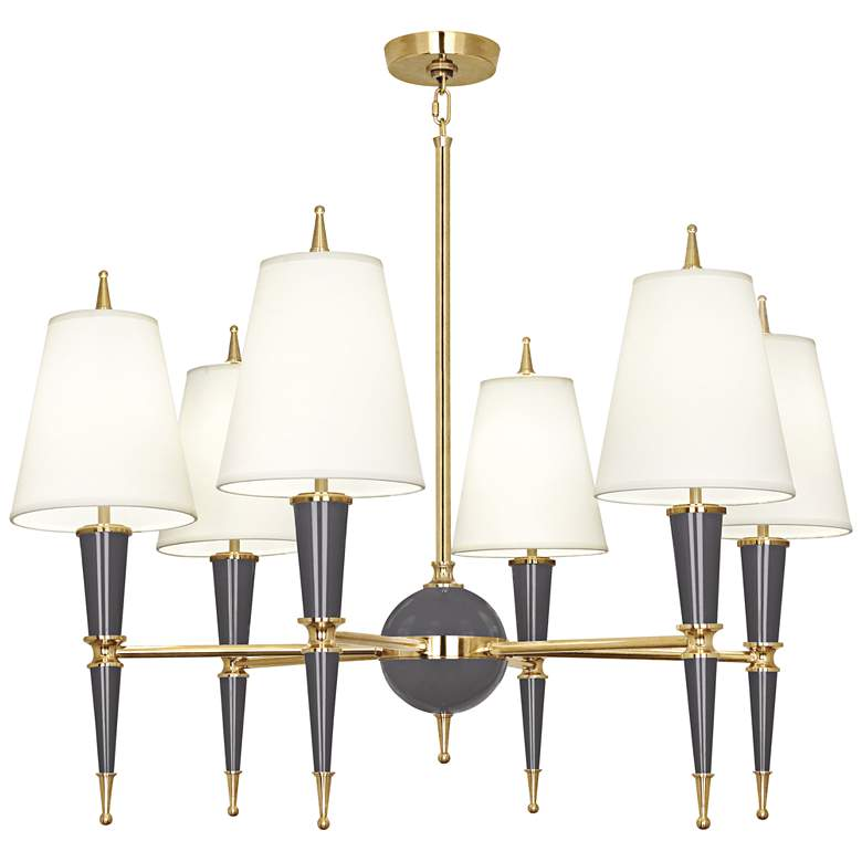 """Versailles 36 3/4""""W Ash Lacquer and Fondine Shade Chandelier"""