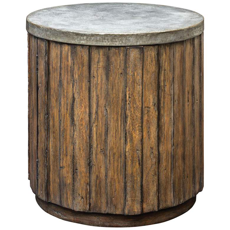 """Maxfield 22"""" Wide Pewter and Wood Rustic Accent Table"""