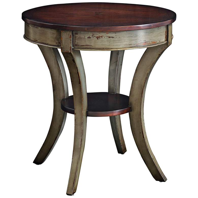 "Loukas 28"" Wide Mahogany Top and Gray Wood Lamp Table"