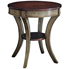 Uttermost Loukas Mahogany Top and Gray Wood Lamp Table