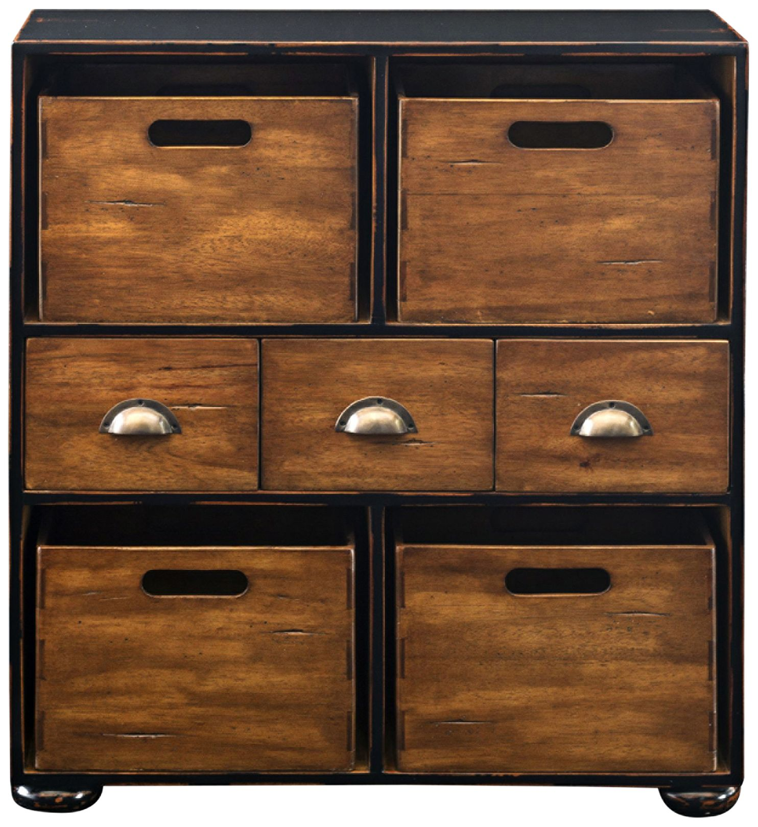 Ardusin Black And Mahogany Wood 3 Drawer Hobby Chest