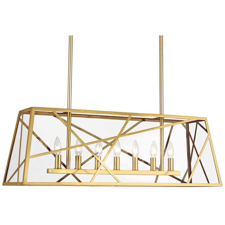 "Bond 36"" Wide Modern Brass Kitchen Island Light"