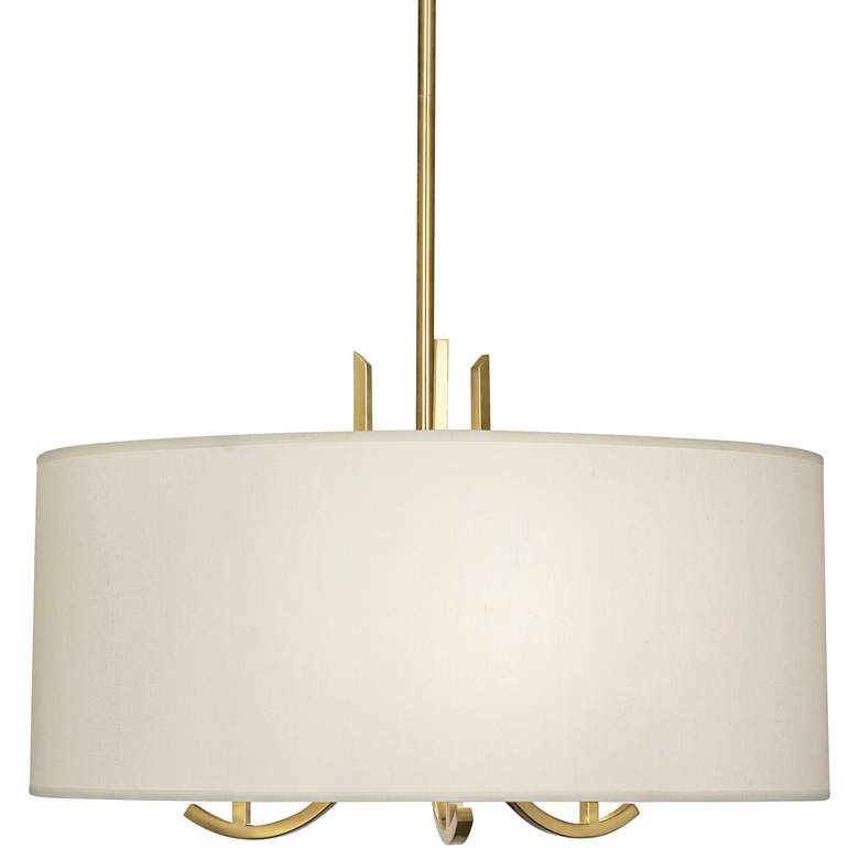 "Francesco 25""W Antique Brass and Taupe Shade Pendant Light"