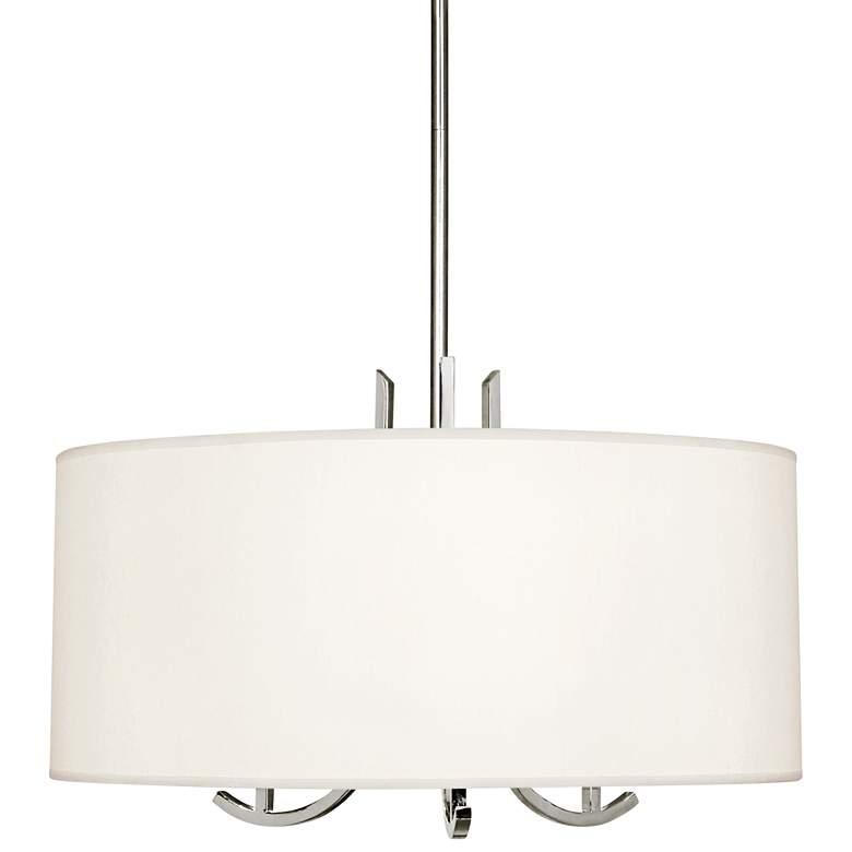 "Francesco 25""W Polished Nickel and Pearl Shade Pendant Light"