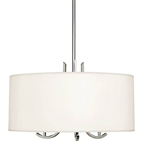 "Francesco 25""W Polished Nickel and Pearl Shade Pendant Light"