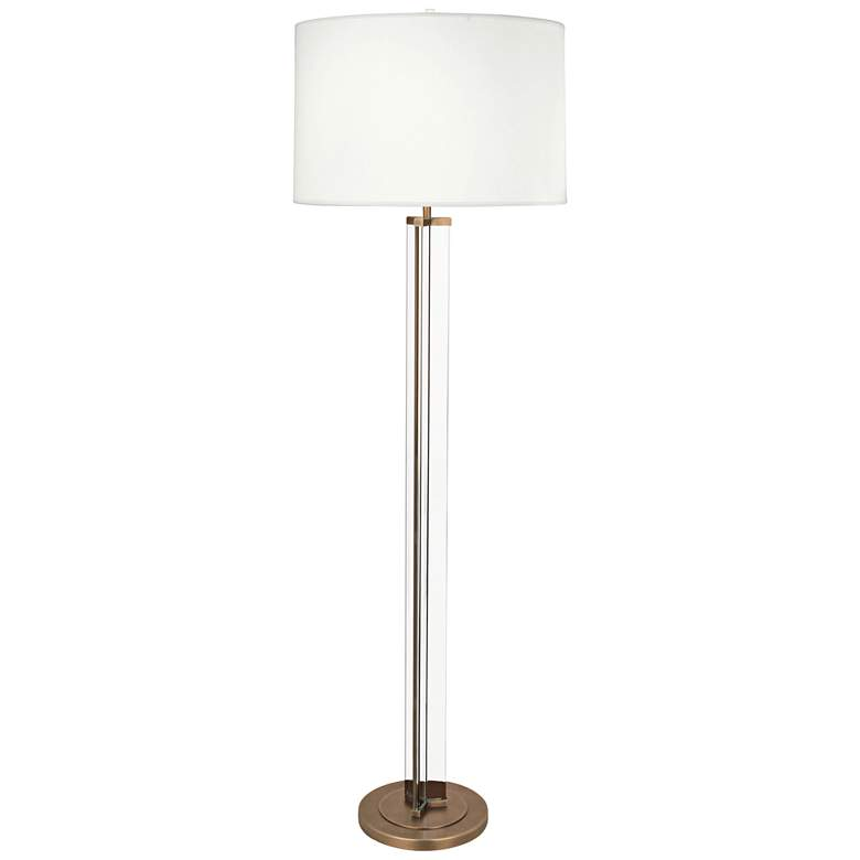 Robert Abbey Fineas Aged Brass Floor Lamp w/ Off-White Shade