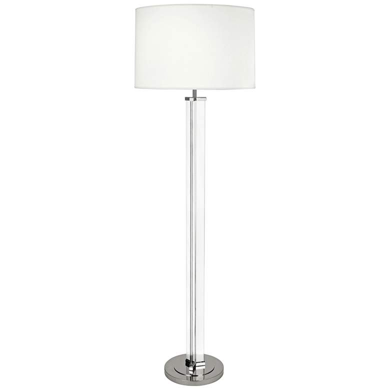 Robert Abbey Fineas Nickel Floor Lamp with Ascot White Shade