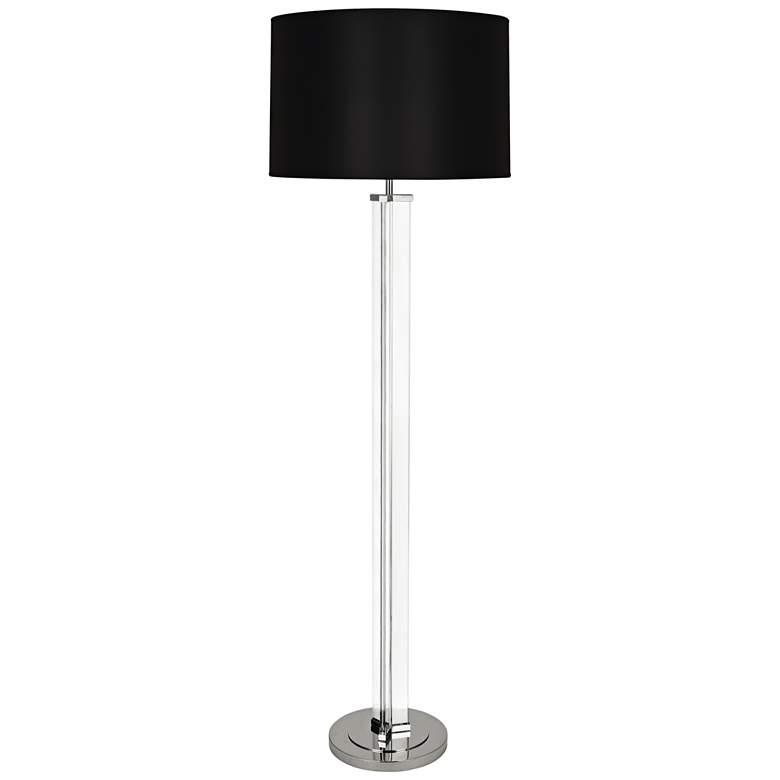 Robert Abbey Fineas Nickel Floor Lamp with Black Shade