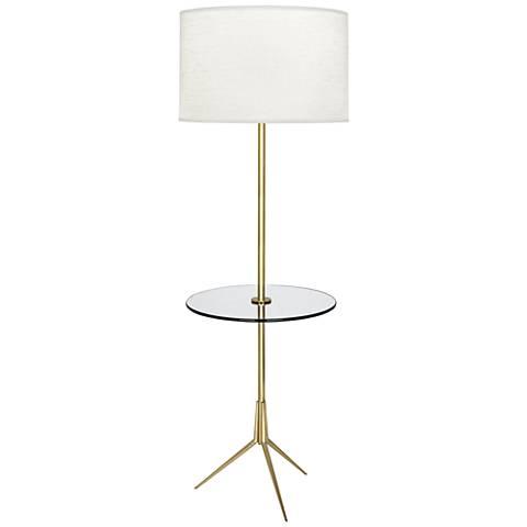 Robert Abbey Martin Modern Brass Floor Lamp with Glass Tray