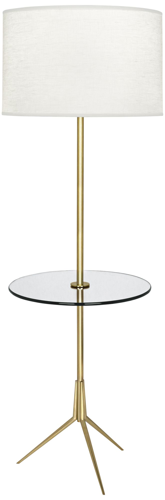 Attractive Robert Abbey Martin Modern Brass Floor Lamp With Glass Tray