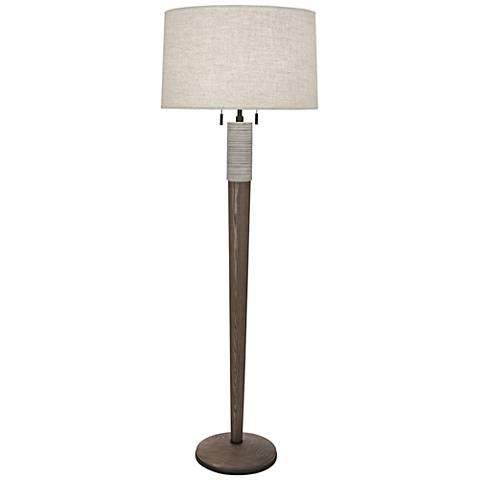 Berkley Walnut Wood Floor Lamp with Linen Shade