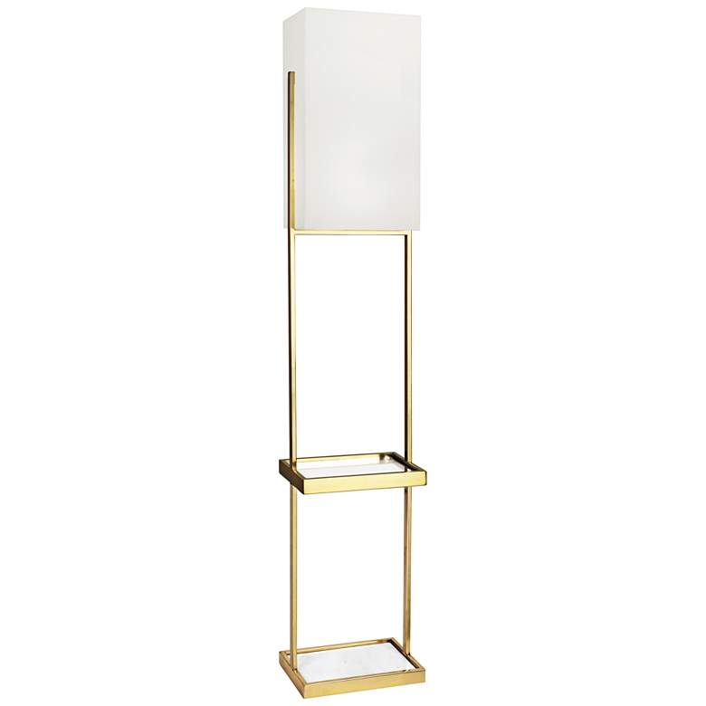 Robert Abbey Nikole Modern Brass Floor Lamp with Tray Table