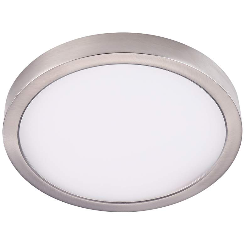 "Disk 12"" Wide Nickel Round LED Indoor-Outdoor Ceiling Light"