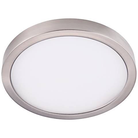 "Disk 12"" Wide Nickel Round LED Indoor-Outdoor Ceiling Light"