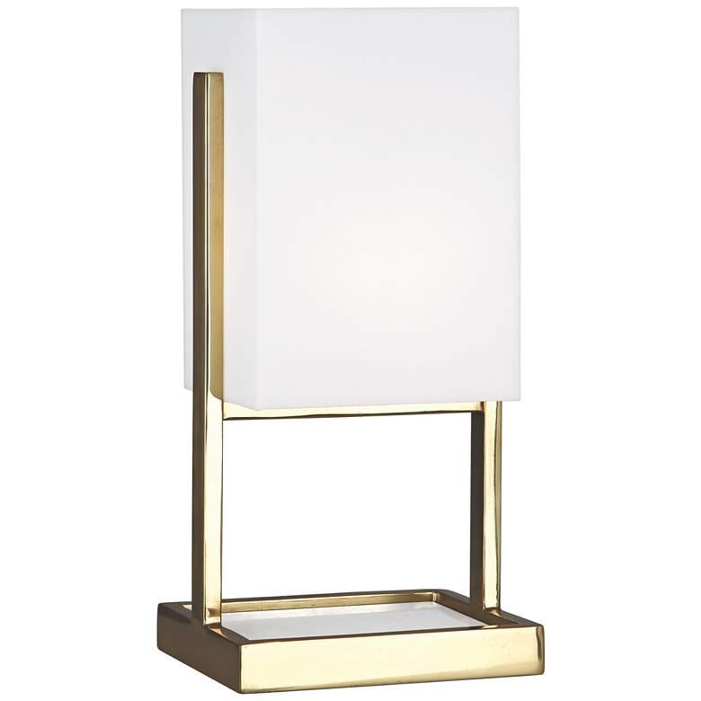 """Robert Abbey 13""""H Nikole Modern Brass Rectangle Accent Lamp"""
