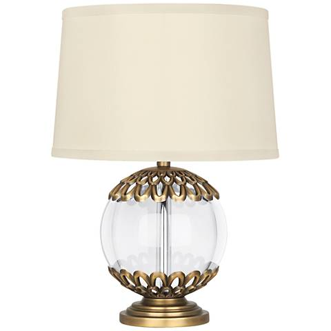 """Polly 14"""" high Warm Brass Orb Accent Lamp"""