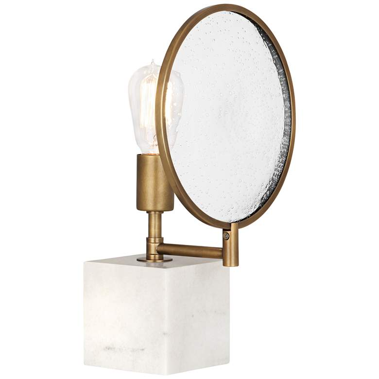 Robert Abbey Fineas Aged Brass and Alabaster Cube Accent Lamp