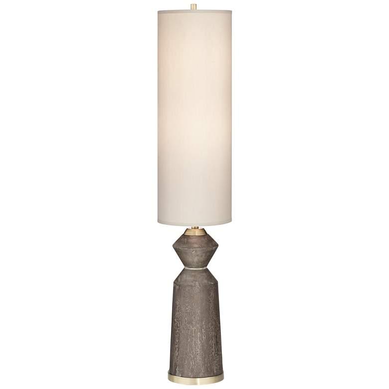 Taboo Brown Sculpted Faux Wood Column Floor Lamp