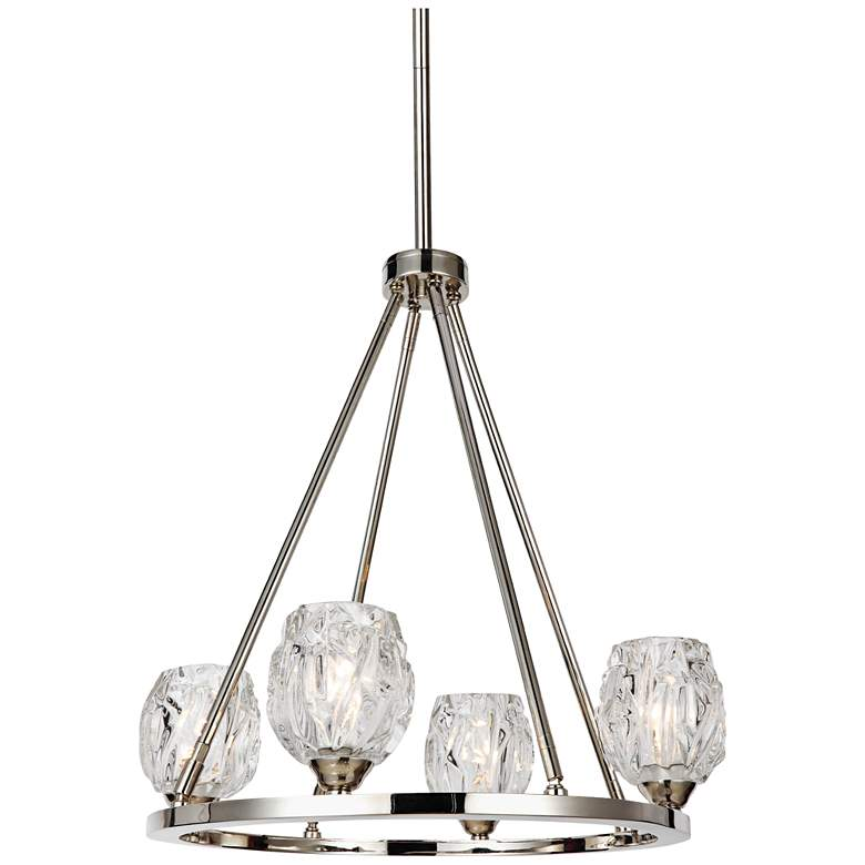 "Feiss Rubin 21"" Wide Polished Nickel 4-Light Chandelier"