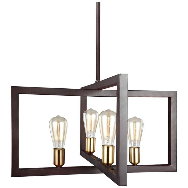 "Feiss Finnegan 23 1/2"" Wide New Bronze 4-Light Chandelier"