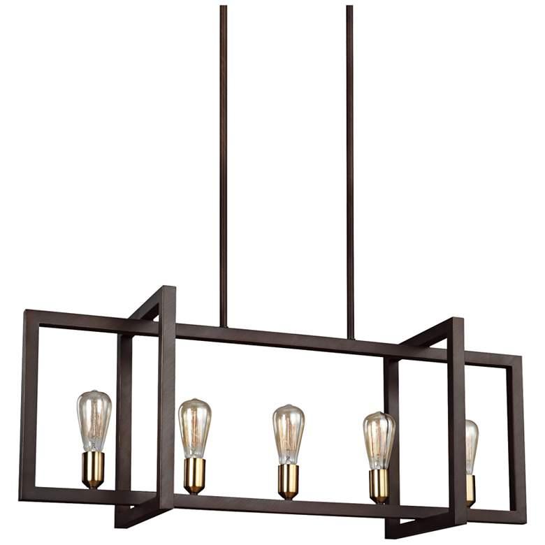 """Finnegan 40"""" Wide New Bronze Kitchen Island Light Chandelier"""