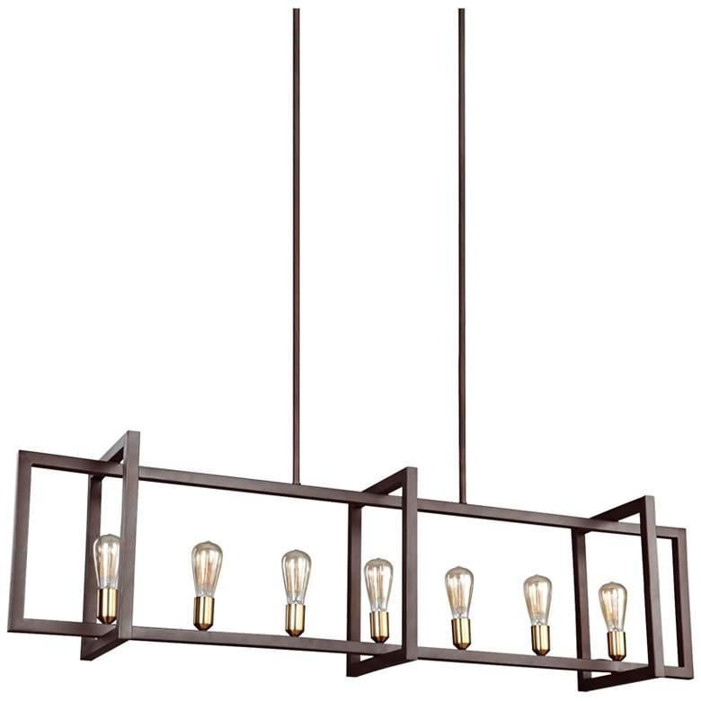 """Finnegan 60"""" Wide New Bronze Kitchen Island Light Chandelier"""