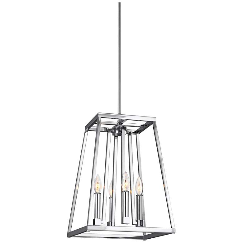 "Feiss Conant 13"" Wide Chrome Small 4-Light Pendant"