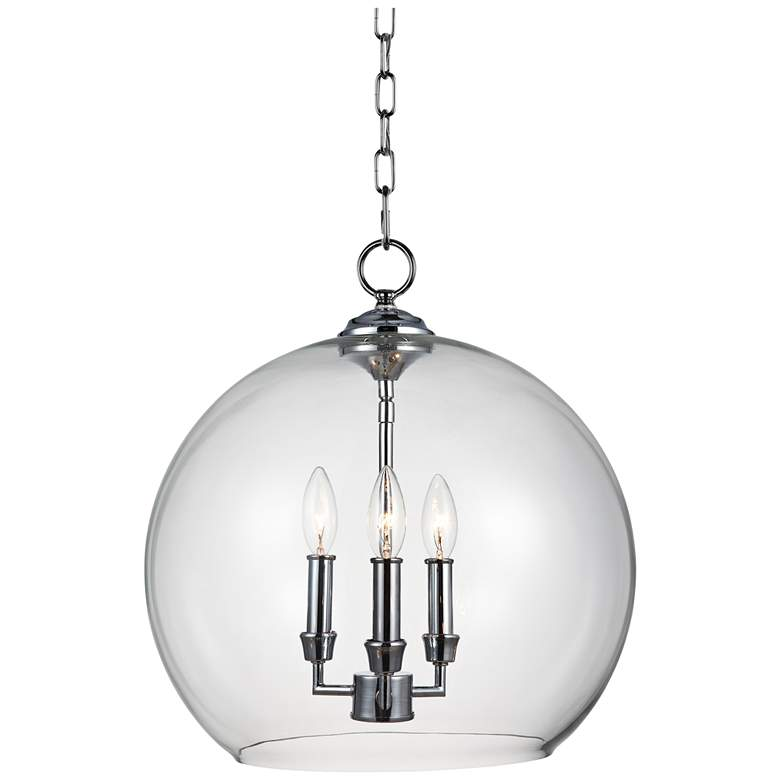 "Feiss Lawler 16"" Wide Clear Glass Orb 3-Light"