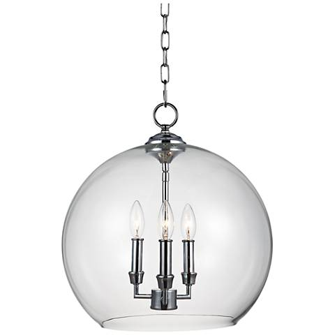 "Feiss Lawler 16"" Wide Clear Glass Orb 3-Light Pendant"