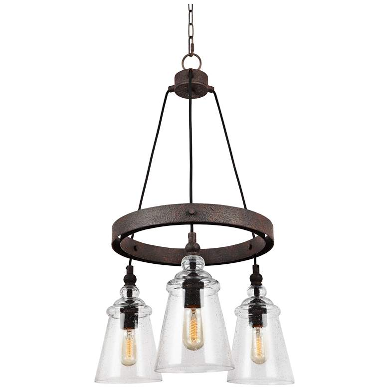 "Loras 16"" Wide 3-Light Weathered Iron Wagon Wheel Chandelier"