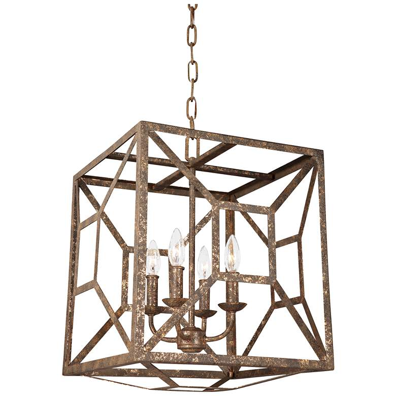 "Feiss Marquelle 17"" Wide Gold Leaf Open-Cube Chandelier"