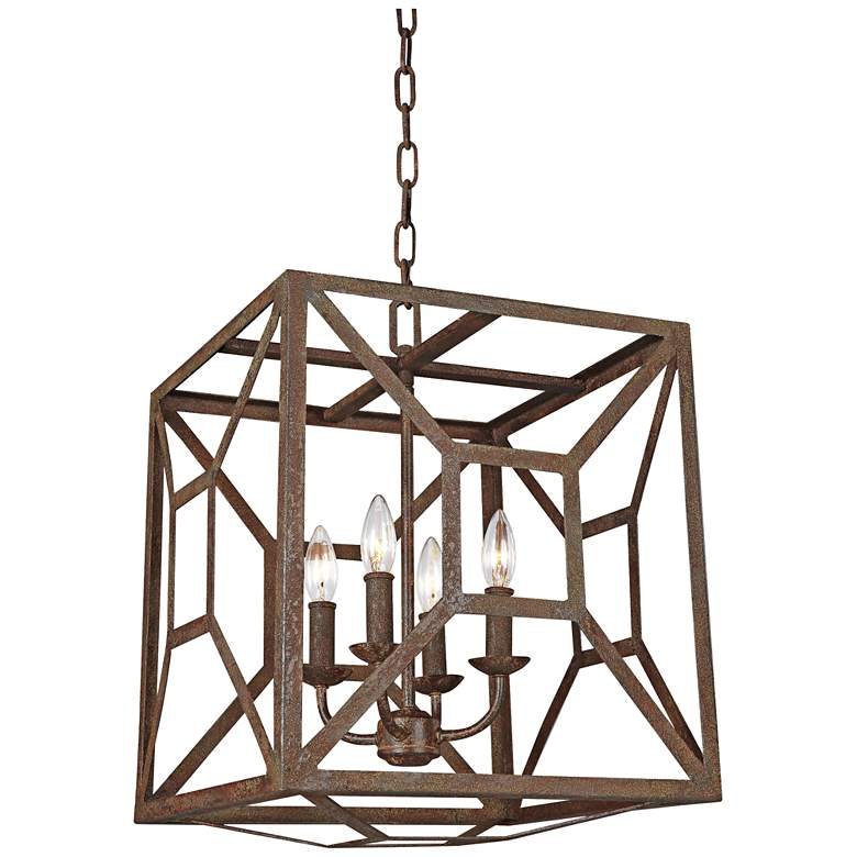 """Feiss Marquelle 17""""W Weathered Iron Open-Cube Chandelier"""