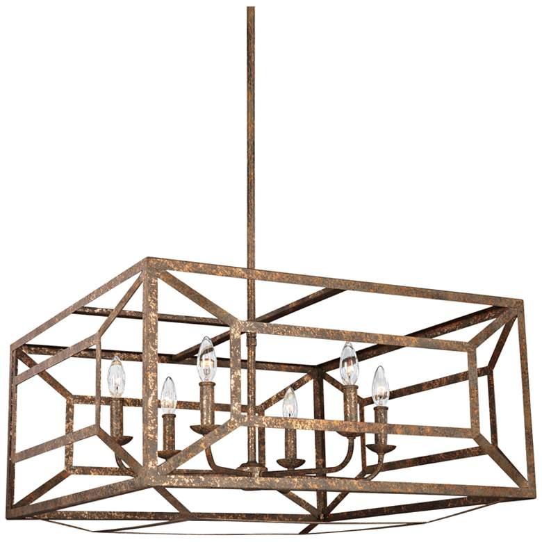 """Feiss Marquelle 28"""" Wide Gold Leaf Open-Square Chandelier"""