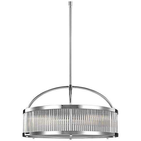 "Feiss Paulson 21""W Glass Rod and Chrome Drum Pendant Light"