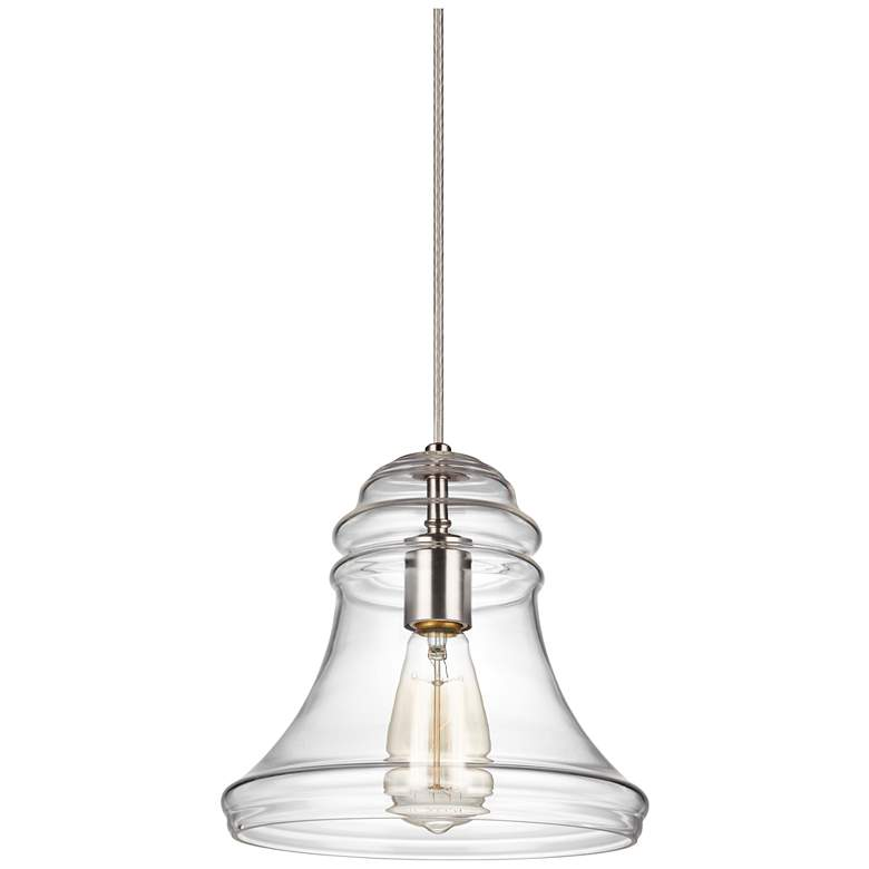 """Feiss Doyle 9 3/4"""" Wide Satin Nickel Spindle Mini Pendant"""
