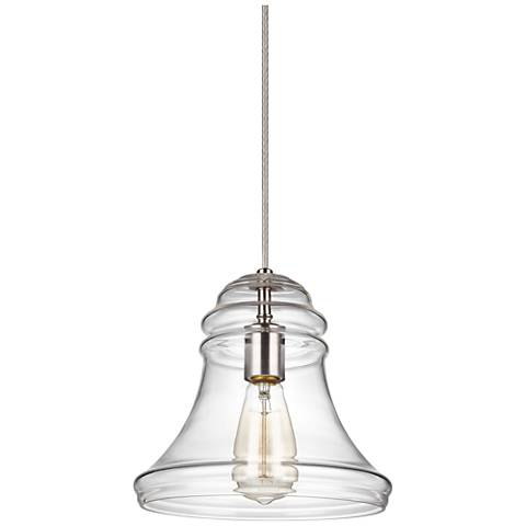 "Feiss Doyle 9 3/4"" Wide Satin Nickel Spindle Mini Pendant"