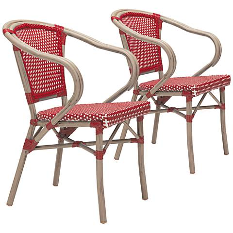 Zuo Paris Red and White Outdoor Dining Armchair Set of 2